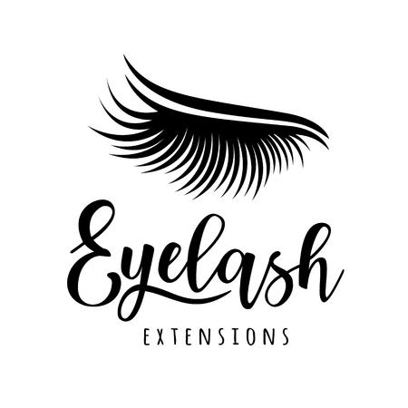 まつげエクステンションロゴ。まつげのベクトルイラスト。美容院、ラッシュエクステンションメーカーのために。  イラスト・ベクター素材