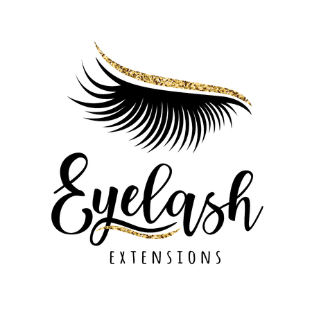Eyelash extension logo. Vector illustration of lashes. For beauty salon, lash extensions maker.
