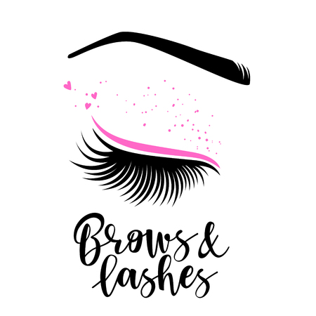 Brows and lashes lettering. Vector illustration of lashes. For beauty salon, lash extensions maker, brow master.