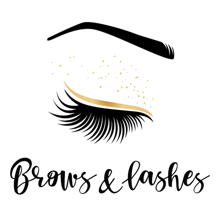 Brows and lashes gold logo. Vector illustration of lashes and brow. For beauty salon, lash extensions maker, brow master. Çizim