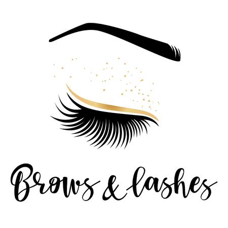 Logo or des sourcils et des cils. Illustration vectorielle de cils et du front. Pour salon de beauté, fabricant d'extensions de cils, maître des sourcils. Logo