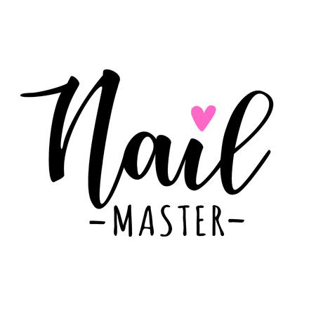 Nagel meester belettering. Vector illustratie voor schoonheidssalon, manicure op maat, nagel meester. Stock Illustratie