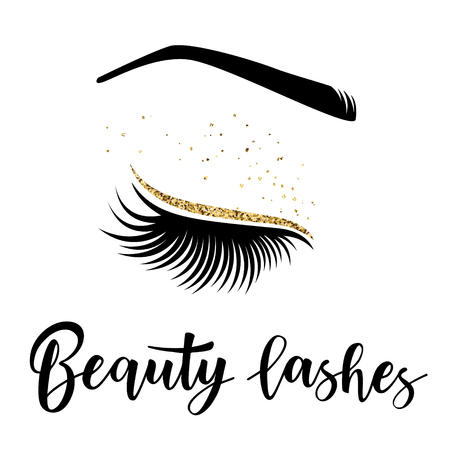 Lashes lettering. Vector illustration of beauty lashes. For beauty salon, lash extensions maker, brow master.