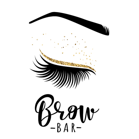 Brow bar logo. Vector illustration of lashes and brow. For beauty salon, lash extensions maker, brow master. Vettoriali