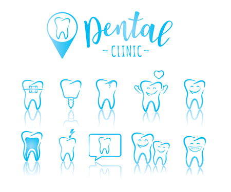 Set of dentistry symbols: dental tools, braces, teeth, implant, toothache, hygiene, tooth decay, family dental etc.