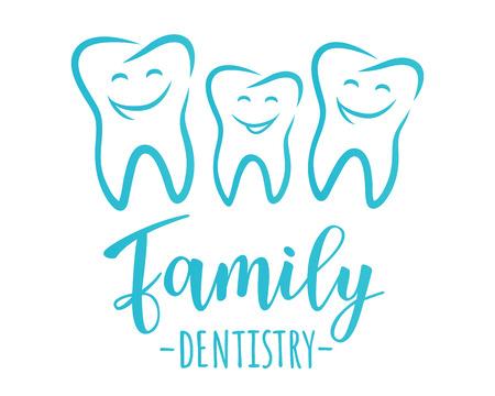 Concetto di design di odontoiatria familiare. Illustrazione vettoriale di denti felici. Archivio Fotografico - 92888654