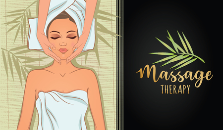 Vector illustration on the theme of massage therapy, self-care, spa salons, relaxation. Can be used for business cards, flyers, beauty salons.