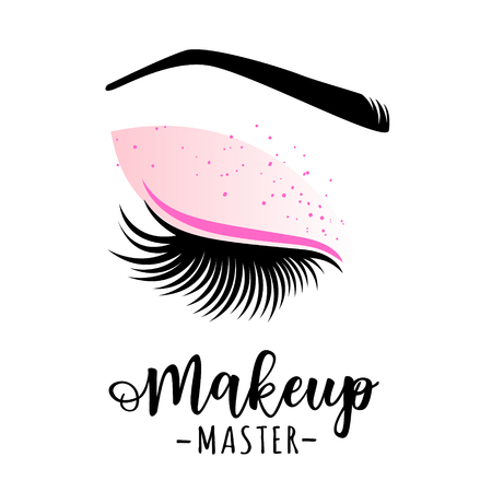 Makeup master icon. Vector illustration of lashes and brow for beauty salon, lash extensions maker, brow master.