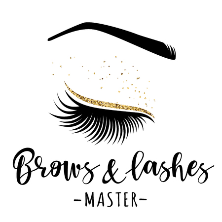 Brows and lashes gold logo. Vector illustration of lashes and brow. For beauty salon, lash extensions maker, brow master. Vettoriali
