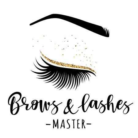Logotipo de oro de cejas y pestañas. Ilustración de vector de las pestañas y la frente. Para salón de belleza, fabricante de extensiones de pestañas, maestro de cejas.