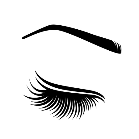 Eyelash extension image. Vector illustration of lashes. For beauty salon, lash extensions maker.