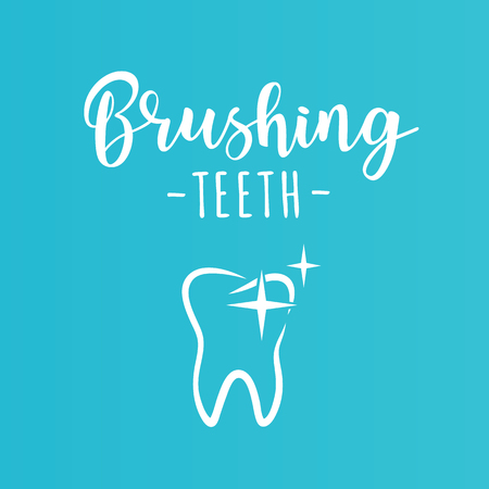 'Brushing teeth' inspirational motivation poster. Symbol of a tooth. Vector illustration. Vettoriali