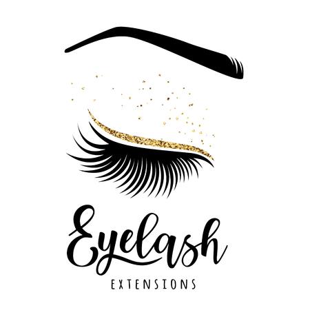 Eyelash extensions logo. Vector illustration of lashes. For beauty salon, lash extensions maker.