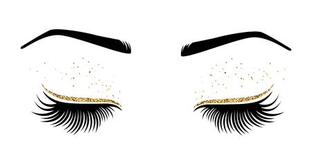 Ilustración vectorial de ojos con largas pestañas. Para salón de belleza, fabricante de extensiones de pestañas.
