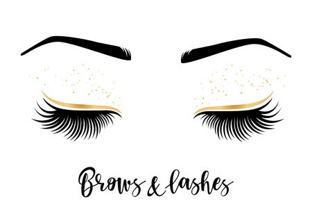Brows and lashes lettering. Vector illustration of lashes and brows. For beauty salon, lash extensions maker, brow master. Çizim