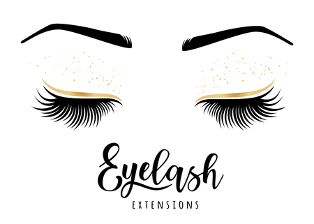 Eyelash extensions logo. Vector illustration of lashes. For beauty salon, lash extensions maker. Фото со стока - 94567080