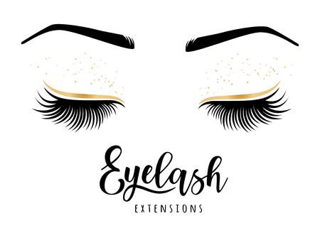Logo für Wimpernverlängerung. Vektorabbildung der Peitschen. Für Schönheitssalon Wimpernverlängerungshersteller. Logo