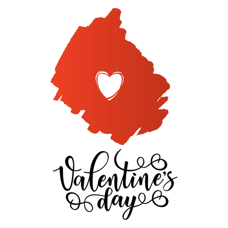 Inspirational lettering poster for Valentine's day with red heart. Use for posters, t-shirt prints, cards.