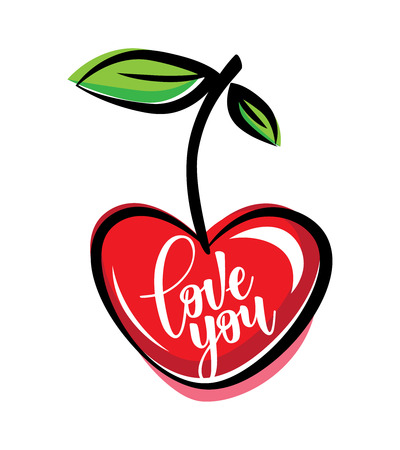 Inspirational lettering poster love you with red cherry. Use for posters, t-shirt prints, cards