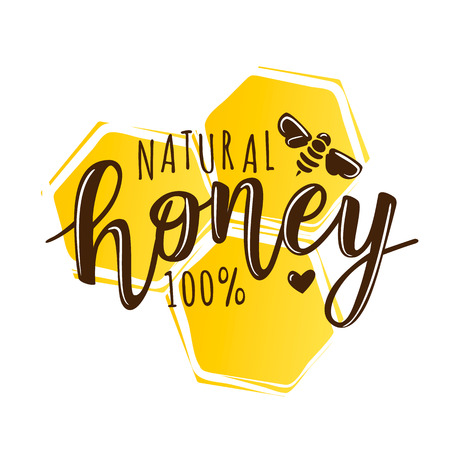 Vector illustration of a natural honey lettering. Logo design template