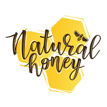 Vector illustration of a 'natural honey' lettering. Icon design template