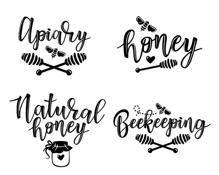Vector illustration of beekeeping set. Black and white icon design templates Stock Illustratie
