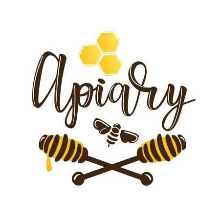Vector illustration of a 'apiary' lettering. icon design template with spoons of honey and a bee