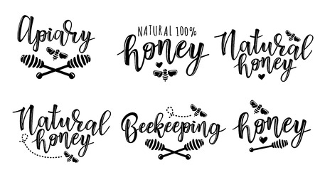 Vector illustration of beekeeping set. Black and white icon design templates Illustration