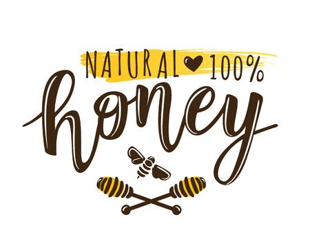 Vector illustration of a 'natural honey' lettering. Sketch logo design template