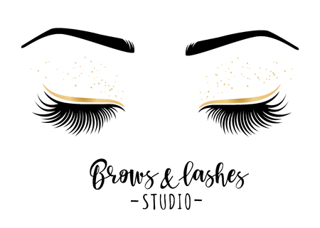 Brows and lashes studio. Vector illustration of lashes and brows. For beauty salon, lash extensions maker, brows master. Ilustracja