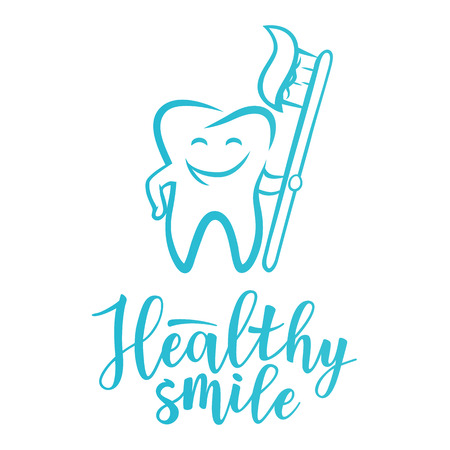 Healthy smile inspirational motivation lettering poster