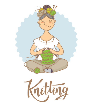Knitting shop lettering logo. Yarn store flat sign, illustration of woman with knitting needles