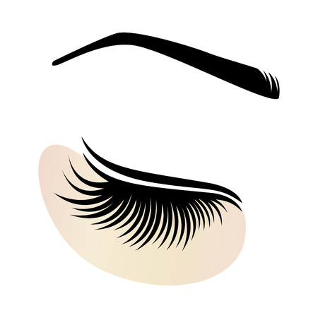 Eyelash extensions icon with eye patch. Illustration