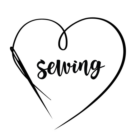 Sewing with needle vector illustration