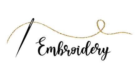 Embroidery with needle vector illustration