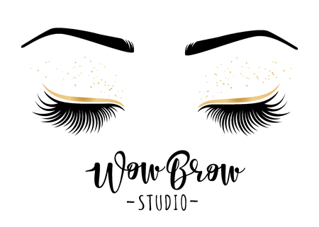 Vector illustration of lashes and brows.