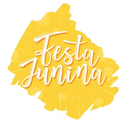 Festa Junina illustration traditional Brazil June festival party. Vector illustration of lettering poster. Illustration