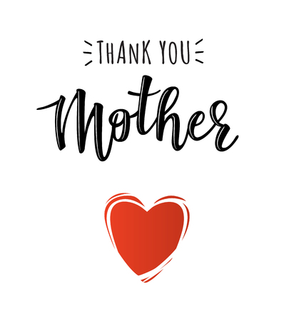 Thank you mother lettering with red heart design.
