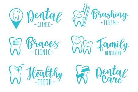 Vector set of dentistry labels