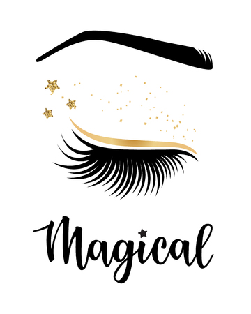 Vector illustration of lashes with Magical inspiration for or beauty salon, lash extensions maker, brow master.
