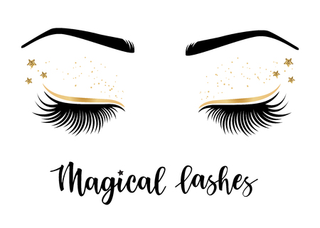 Vector illustration of lashes with 'Magical' lashes inspiration Çizim