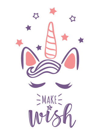 Vector illustration of a magic cute unicorn with stars. Greeting card with