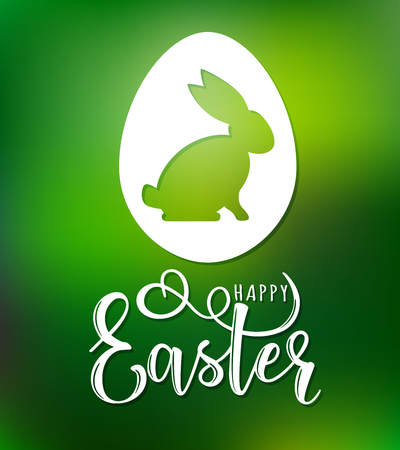 Vector illustration of Happy Easter text as Pascha logotype, badge and icon. Greetings postcard, card, invitation, poster, banner template lettering typography.