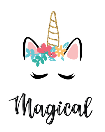 Vector illustration of a magic cute unicorn with flowers.