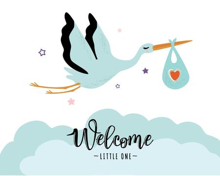 Ein Storch, der ein niedliches Baby in einer Tasche trägt, kann für eine Babypartyeinladung, -karten, -broschüren, -plakate und -t-Shirts benutzt werden.