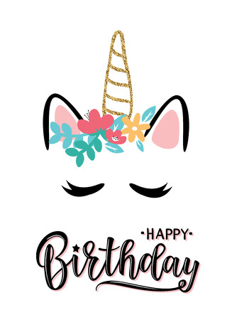 Vector illustration of a Happy Birthday Invitation with unicorn. Greeting card with Happy Birthday inscription. Can be used for cards, flyers, posters, t-shirts.