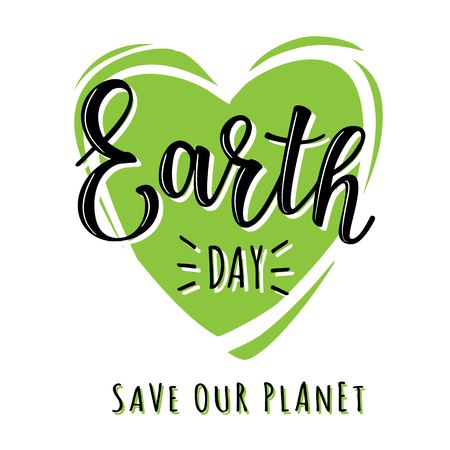 Vector illustration of Earth day lettering with green heart. Greetings postcard, card, invitation, poster, banner template.