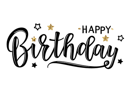 Vector illustration of a Happy Birthday Invitation with stars. Greeting card with Happy Birthday inscription. Can be used for cards, flyers, posters, t-shirts. Illustration