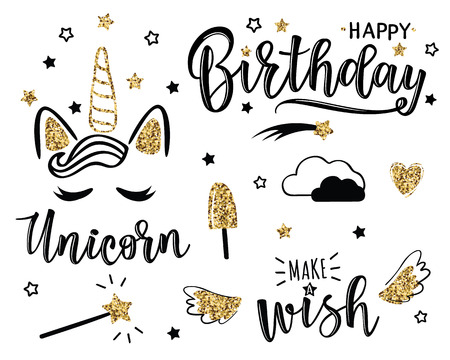 Happy Birthday set with stars and unicorn vector illustration. Greeting card with