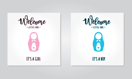 Vector illustration of a baby shower invitation for girl and boy.